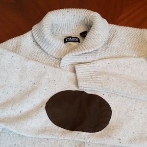 Chaps cream and blue elbow patch sweater Rk:4:919